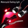 1 Par de Alta Qualidade Red Carro Motocicleta Aviso Flash Strobe Levou Luz Holofotes Olho de Peixes Da Lente da Luz de Freio Lâmpada