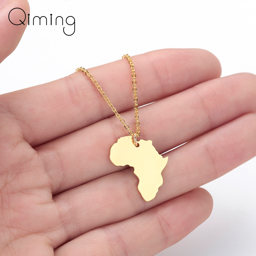 Gold Mama Africa Map Necklace Men Women Stainless Steel Jewelry The Motherland Geometric Necklaces & Pendants Gift necklace