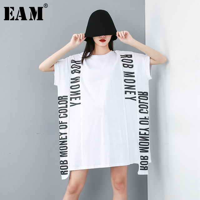 [EAM] 2019 New Spring Summer Round Neck Short Sleeve Letter Printed Ribbon Stitch Big Size T-shirt Women Fashion Tide JU672
