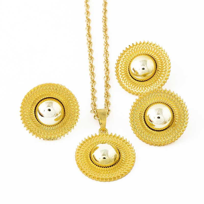 Ethlyn Gold Farbe Äthiopischen Eritrean Frauen 3PCS Schmuck Set Halskette/Ohrringe/Ring Habesha Zubehör S118
