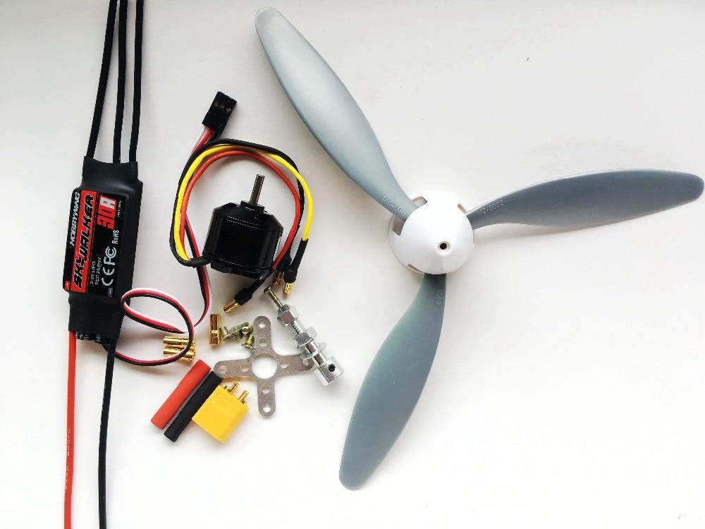 Hobbywing Skywalker 30A ESC+1400KV 2212 Motor+3 Blade 8060 Propeller+35mm Propeller Cover Power Fixed Wing DIY Kits RC Parts