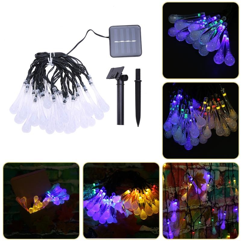 30 LED Solar Powered Water Drop String Lights LED Fairy Light Wedding Christmas Lighting Party Festival Outdoor Indoor Decor