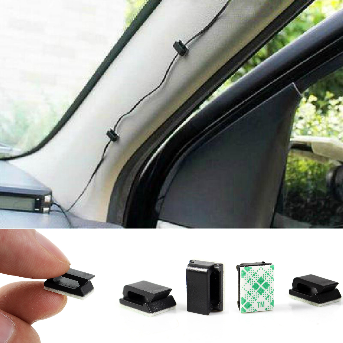 10pcs House Office Car Single Hole Cable Holder Wire Cord Cable Flat Holder Tie Clips Fixer Organizer Drop Adhesive Clamp