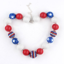 American Flag Style Children Chokers Necklace Chunky Beads Hand Made Necklace High Quality Safe Kids Toddler Jewelry WX1154