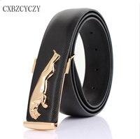 2015 Men S Fashion Wild Designer Jeans Boss Belt Gold Metal Belt Buckle Leopard Casual Smooth