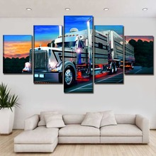 Sunset Landscape 5 Piece Unique Car In Road Driving Poster Canvas Print Wall Art Pictures Modern Living Room Decor Framework
