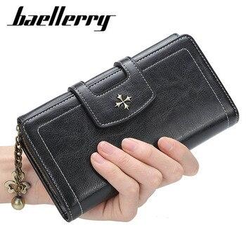 Monedero para mujer baellerry largos lujosos carteras femeninas de gran capacidad de alta calidad soporte de teléfono rojo cremallera monedero de mujer