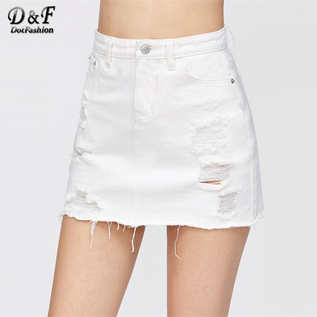 d4bb751cf0ff Dotfashion Distressed Fray Hem Denim Skirt 2019 New White Ripped Casual  Women Bottom Mid Waist Sheath Short Plain Skirt