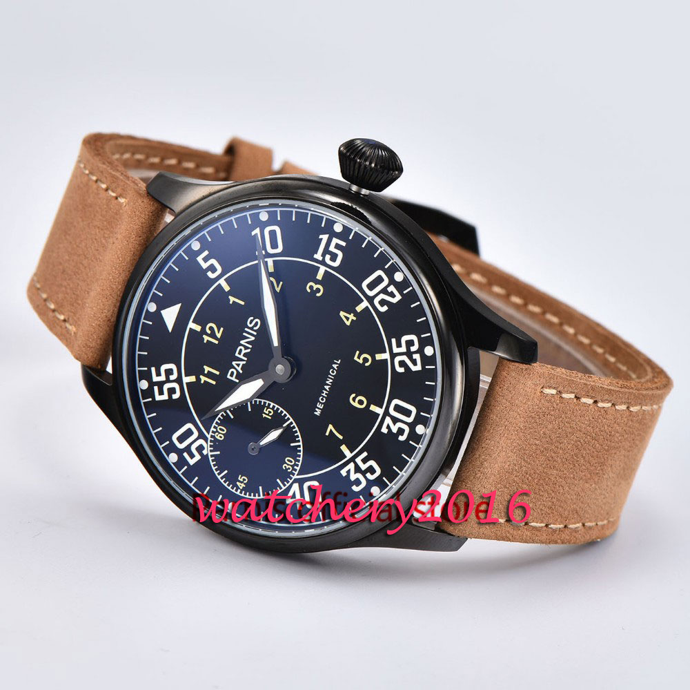 44MM parnis black Dial PVD case Leather strap 2019 top brand Luxury 6497 hand winding mechanical