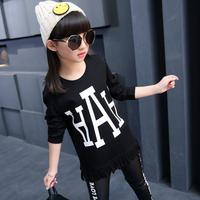 2017 Fashion Tassel Kids Clothes Long Sleeve Letter Print Basic T-shirts For Girls All-matched Casual Outfits Roupas Menina