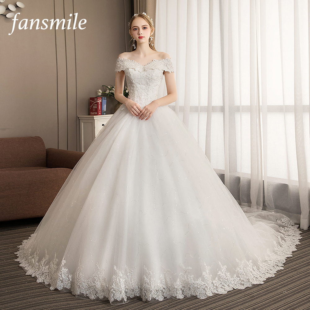 Fansmile New Vestido De Noiva Elegant Luxury Lace Wedding Dress 2020 Vintage Ball Gowns Train Plus Size Customized FSM-516T