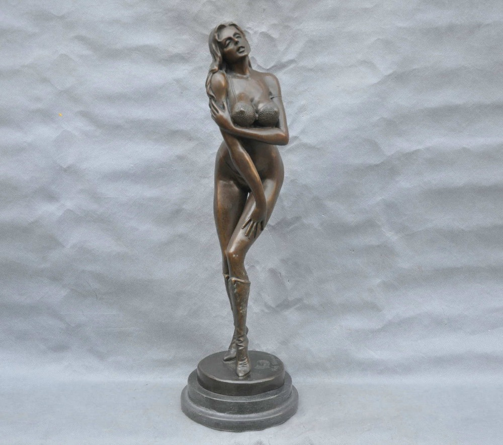 Monumental nude girl seated on rock fountain bronze statue for sale free shipping