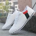 Мода Мужская Обувь Белые Мужчины Обувь Весна Осень PU Краска Кожа Вождения Обувь Повседневная мужская Квартиры Плюс размер 39-46
