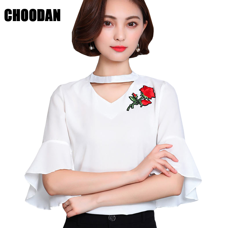Rosa bordado de gasa blusa manga flare 2017 de moda de verano de estilo coreano