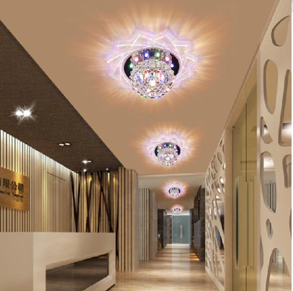 2017 New Lampshade Crystal Ceiling Light 3w Bedroom Foyer