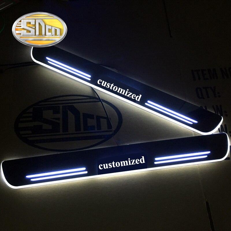 SNCN 4PCS Acrylic Moving LED Welcome Pedal Car Scuff Plate Pedal Door Sill Pathway Light For Alfa Romeo Giulia Stelvio Giulietta