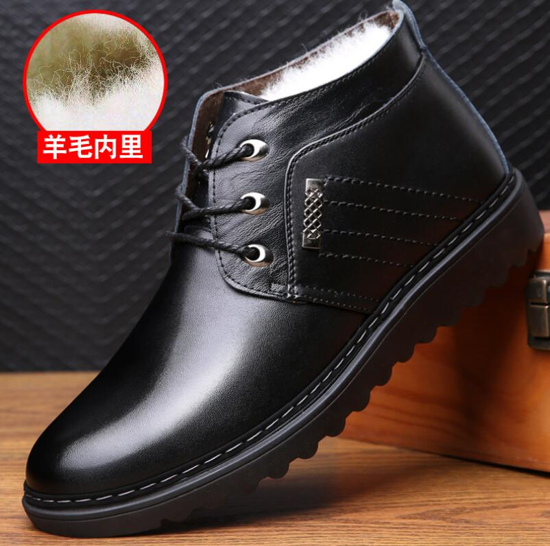 2018 new high quality winter Men Genuine Leather boots fashion men Warm boots ankle boots men outdoor With thick wool snow boots