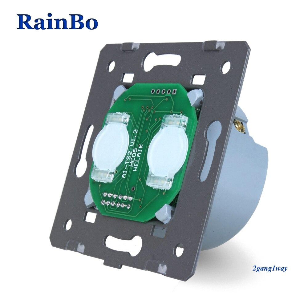 Rainbo Interruptor táctil DIY pared del interruptor UE 2gang1way pantalla táctil de pared para interruptores de luz LED 110 ~ 250 V A921