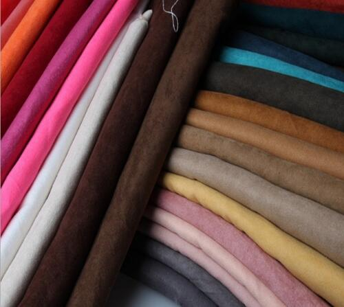 Solid Suede Fabric For Clothing Garment Soft Poly Micro Suede Material Bags Shoes Sofa Cover Cloth Tecido Meter