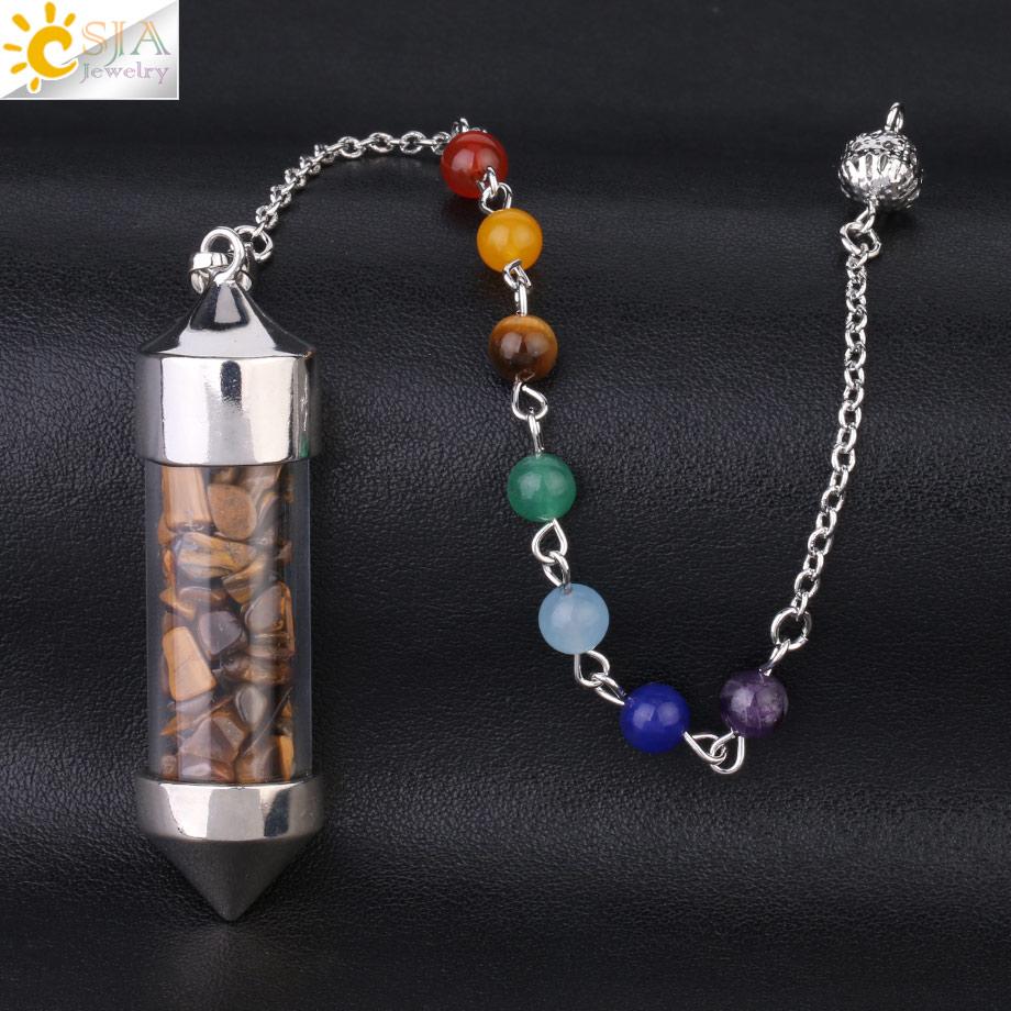 CSJA Новое поступление 7 Чакра Желая бутылка маятник рейки натуральный чип камень кулон ожерелье для женщин мужчин гадания амулет F976 - Окраска металла: Tiger Eye