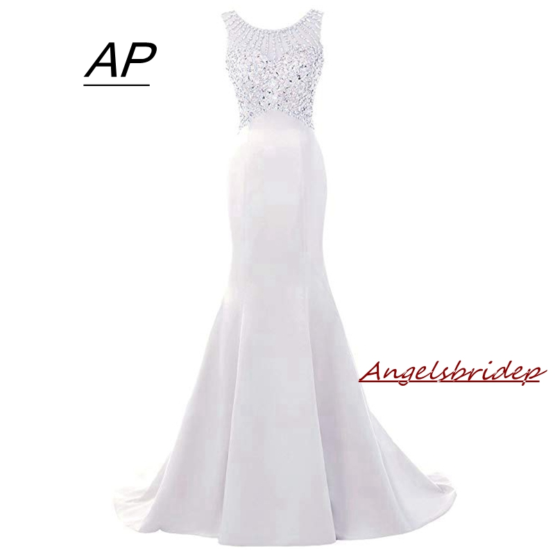 Angelsbridep Mermaid Wedding Dresses 2019 Vestido De Noiva Zipper Back With Pearls Full Crystals Cap Shoulder