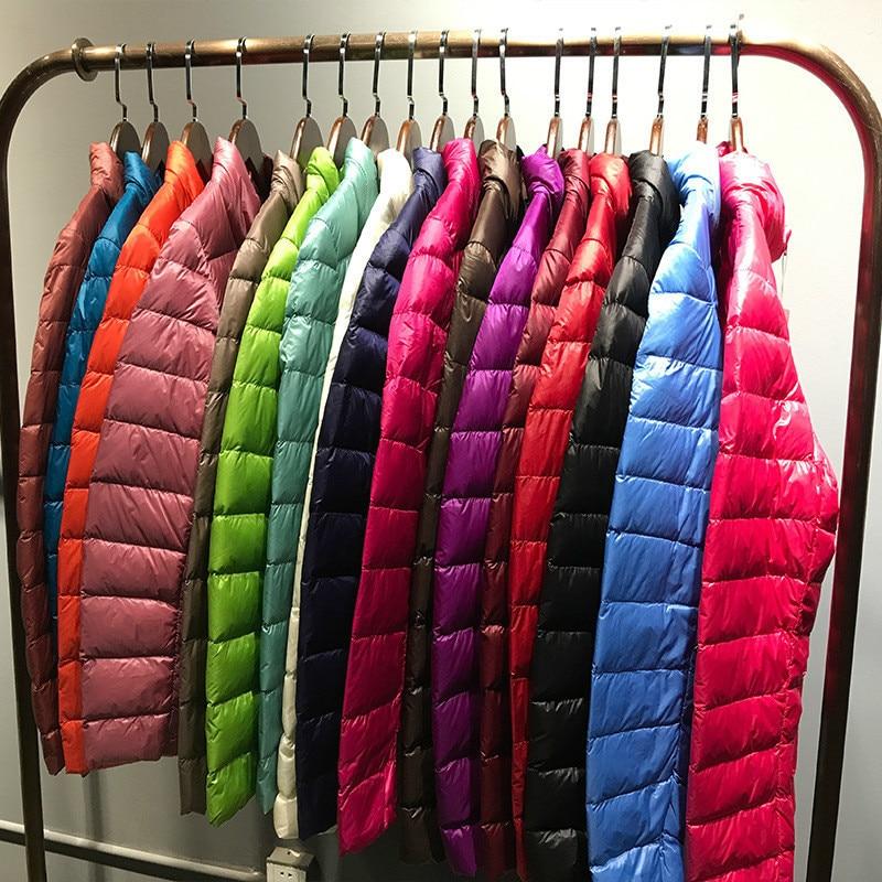 [Aiweier]Women's   Down   Jacket Short Slim Thin Solid Zipper Korean Style Stand Collar Winter   Down   Jacket For Women   Coats   Outwear