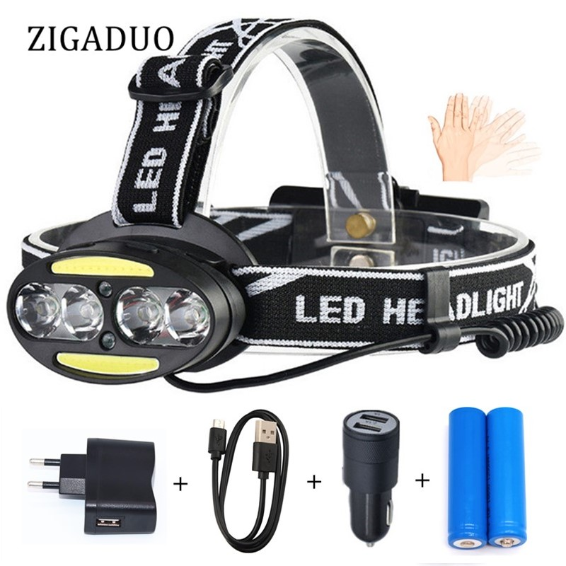 Powerful LED Flashlight Forehead XML 4*T6 + 2*COB LED Headlamp Torch Head Lights Lamp+18650 Battery+AC/Car/USB Charger(Option D) powerful xml t6 headlight 5000 lm rechargeable led headlamp t6 flashlight head torch lamp wall ac adapter charger 18650 battery
