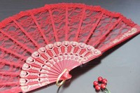 500 pz/lotto ventilatore del merletto di cerimonia nuziale, rosso lace fan mano, danza accessori cosplay regalo del partito di favore H124