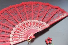 500pcs/lot  wedding lace fan,red lace hand fan,dance cosplay accessories party gift favor H124
