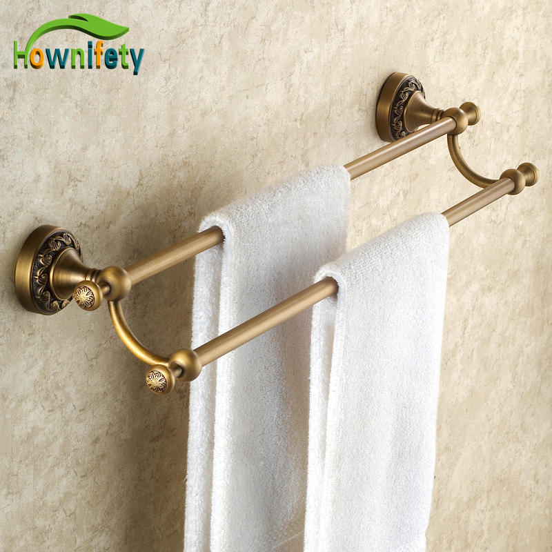 Antique Brass Bathroom Double Towel bar/Towel Hanger Bathroom Towel Holder Wall Mounted wall mount artistic double towel bar antique brass bathroom good quality dual bar towel holder