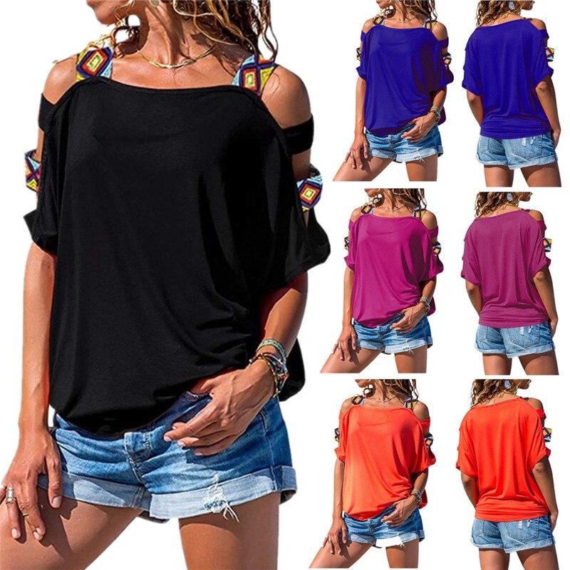 Hot Sale Women Bare Shoulder T Shirt New Vintage Boho Print Cold Shoulder Tunic Loose T-shirt Pure Color Short Sleeve Tees Tops
