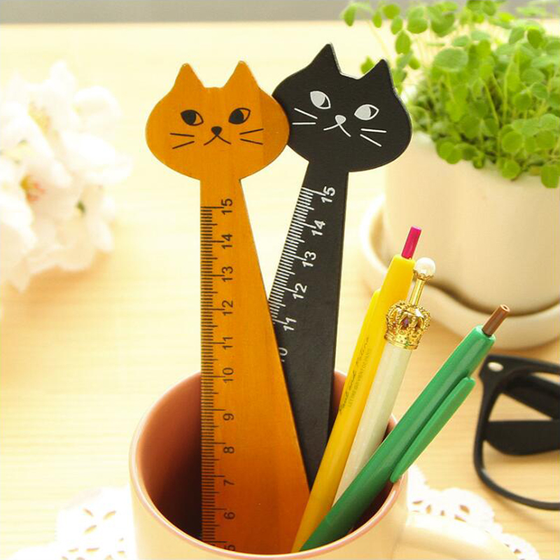 Wooden Material Colored Cartoon Cat Styling Ruler Creative Office Stationery And School Supplies 1PCS/Set