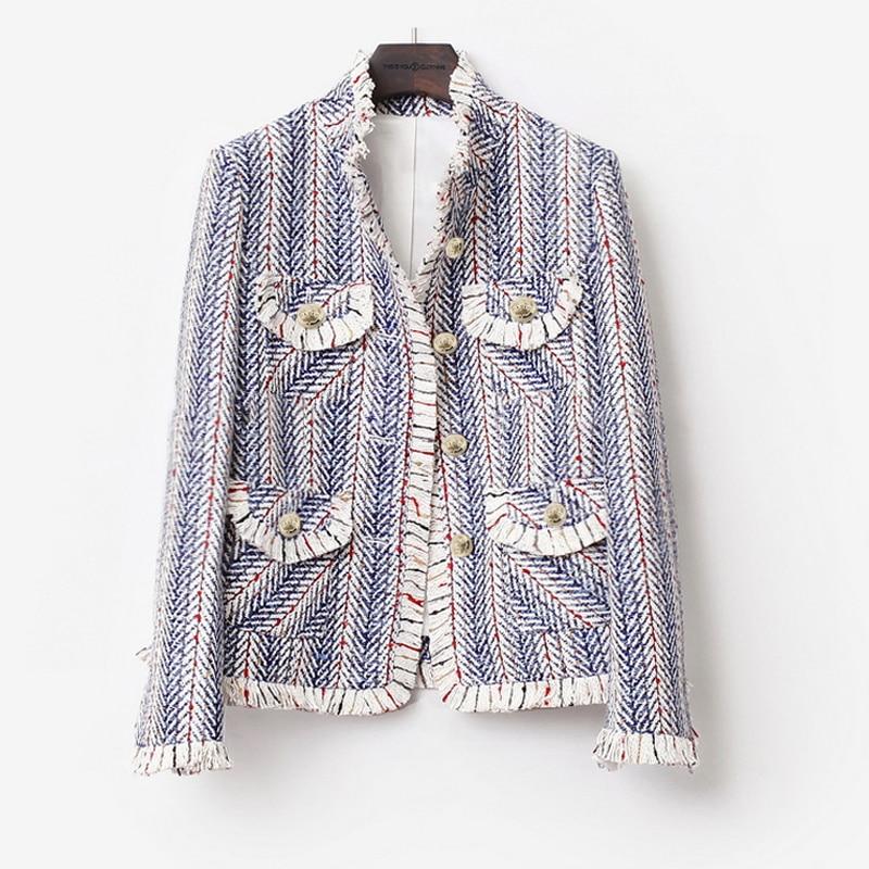 Твидовая куртка в синюю и белую полоску, Весенняя/Осенняя/зимняя женская куртка, новинка 2020, женское Трикотажное короткое пальто с кисточка