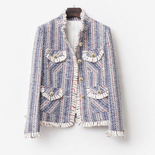 Blue and white striped tweed jacket 2019 spring / autumn / winter women's jacket