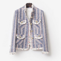 Blue and white striped tweed jacket 2019 spring / autumn / winter women's jacket new female ladies knitted tassel short coat