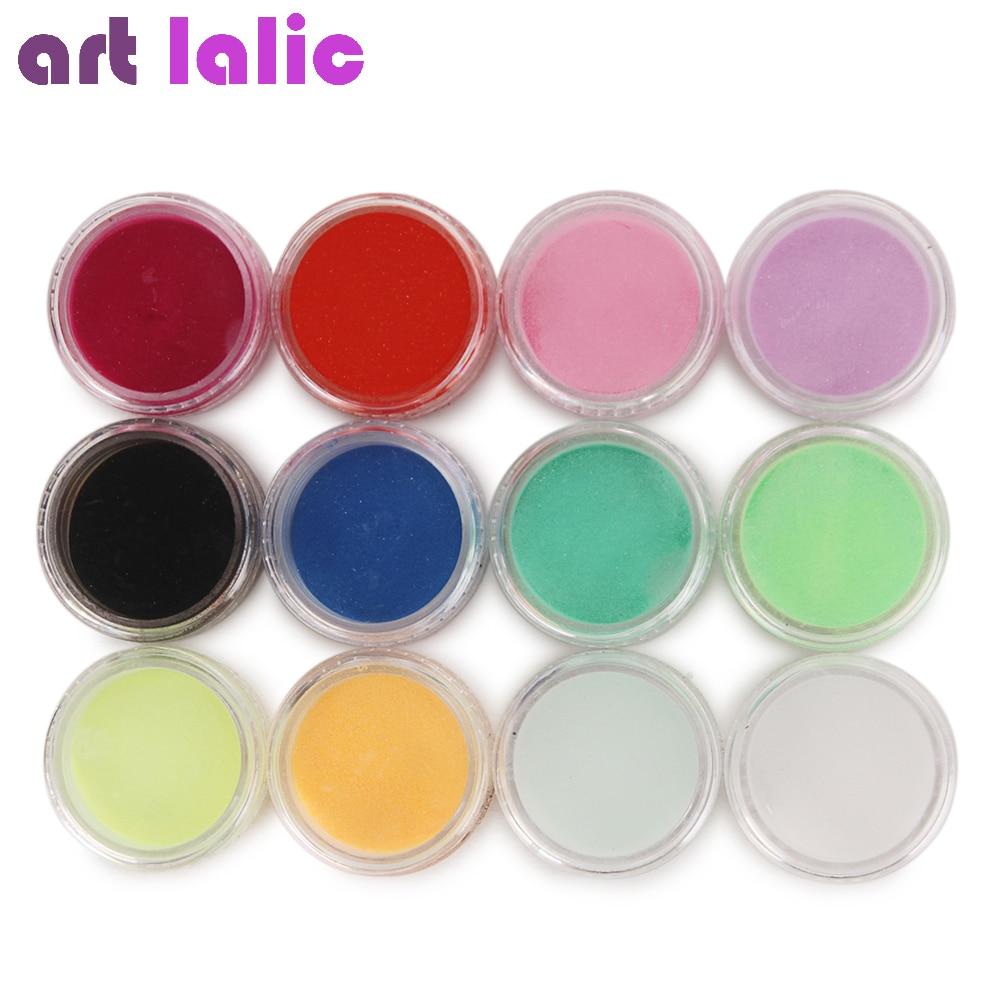 Nail Art 12 Farben Acryl Pulver Staub UV Gel Design 3D Tipps Builder - Nagel Kunst - Foto 2