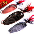 Hot 1pc 23g 6cm Metal Spoon fishing lure Spinner Hard Bait  With Feather Hooks Pike Trout Lure Fishing-products-china FU217