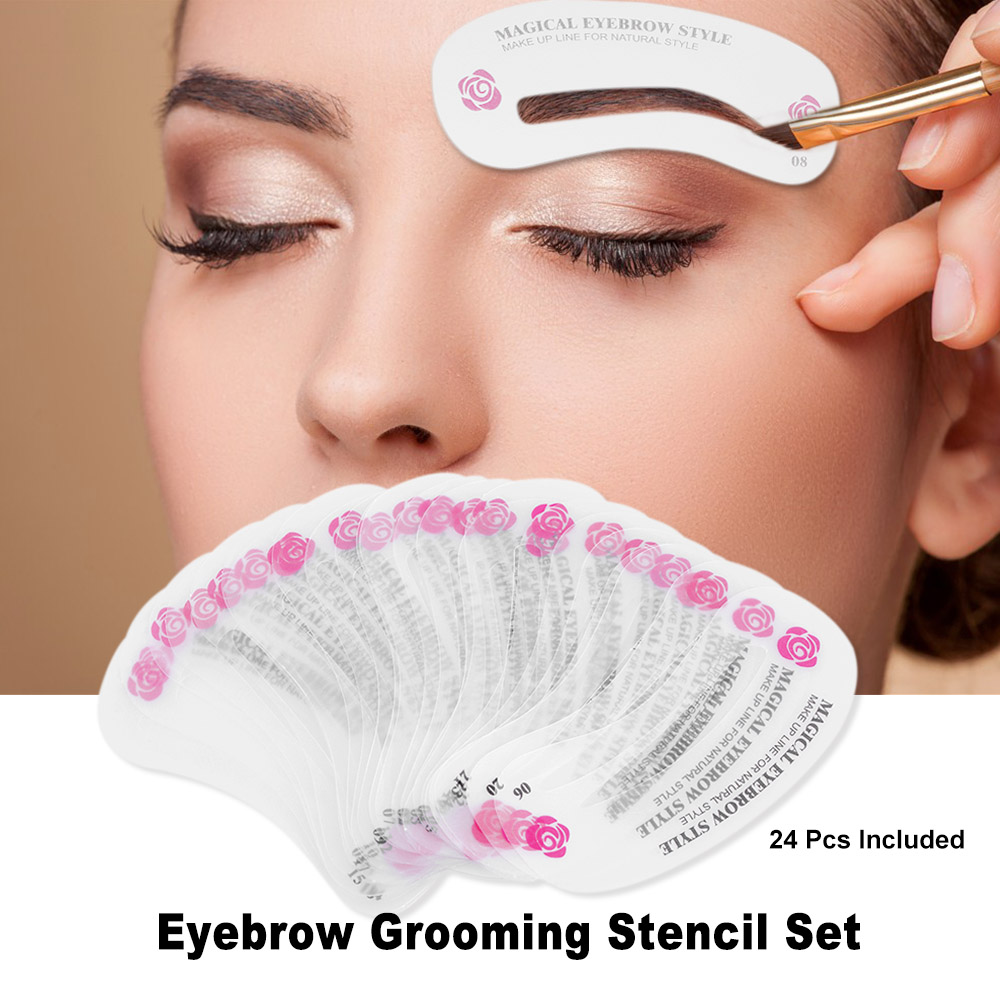 24 Pcs Eyebrow Shaping Stencil Grooming Kit Reusable Eye Brow Diy