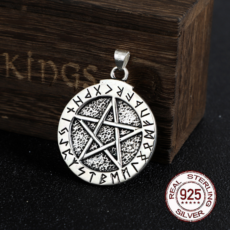 925 Sterling Silver Norse Rune Pendant And Magic Pentagram With Leather Necklace Or Keel Chain As Gift
