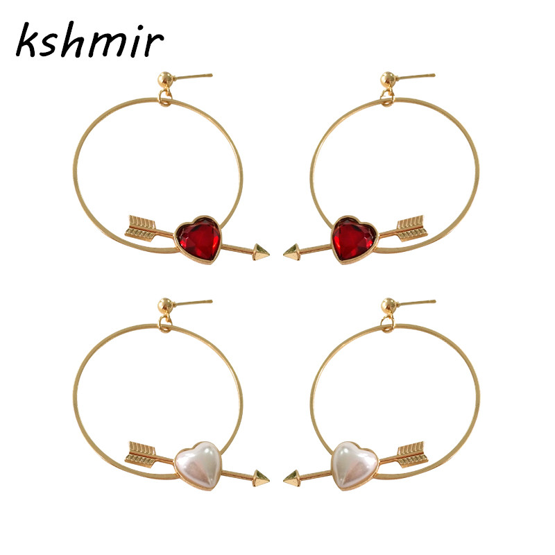 kshmir Popular classic Fashion earrings Red love Heart-shaped earrings The girl accessories