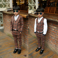 2018 New Children Baby Boys Suits Kids Blazer Boys Formal Suit For Weddings Boys Clothes Set Jackets+Vest+Pants 3pcs 3 12Y