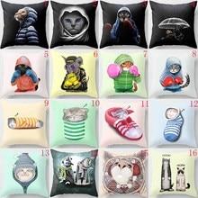 Hot sale funny cute cat pillow case men women girls ladies square cases home throw cover 45*45cm