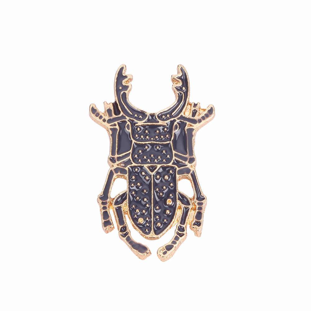 Kumbang Serangga Logam Bros Enamel Hitam Pin Ransel Koboi Kerah Pin Kerah Topi Lencana Perhiasan untuk Anak-anak