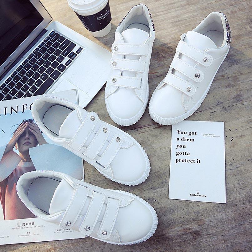 Chaussures Magique Femmes Les S Dames Fidanei Paillettes Match Femme En Appartements Causalité Conseil Strass De white Petit Coréenne Blanc Cuir Tous Gold wAAqBE0
