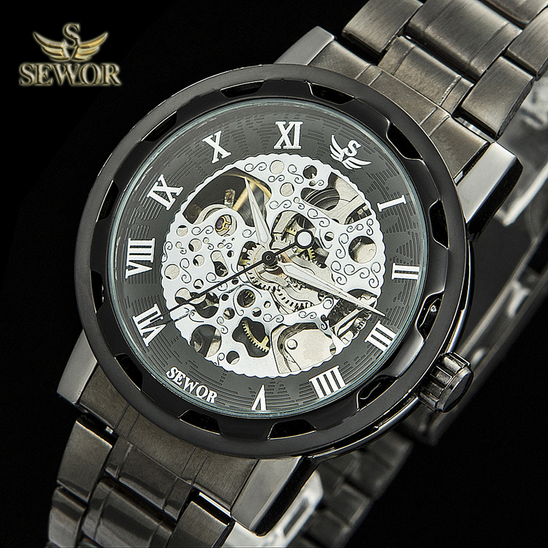 2017 SEWOR  Automatic Mechanical Skeleton Quartz Mens Watch C1285