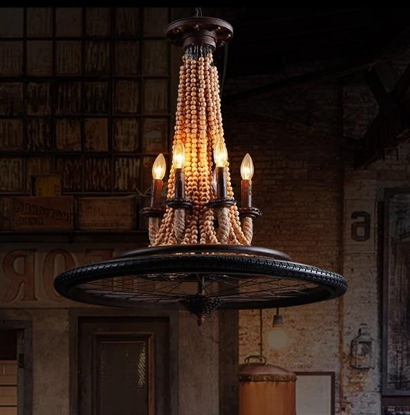 Американский промышленный ветер Лофт мельница колеса древесины подвесной светильник ресторан бар кофе столовой висит освещения