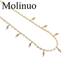 Molinuo beautiful mini lightning colorful cz chain necklace mulit charm paved gold color choker for lady girl women
