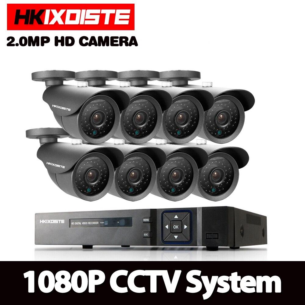 HKISDISTE 1080P DVR 3000TVL 1920*1080P HD Outdoor Home Security Camera System 8CH CCTV Video Surveillance DVR Kit AHD Camera Set цена