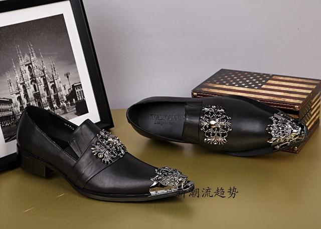 Black Genuine Leather Men Oxford Shoes Slip On Men Dress Shoes Gold Metal  Pointed Toe Men Shoes Party Elevator Men Oxfords b25de584024a