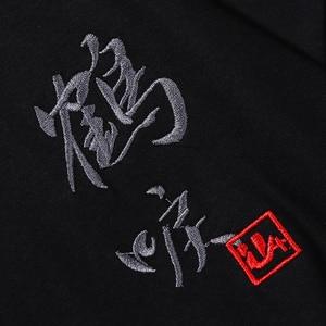 Image 5 - Hip Hop T Shirt Men 2019 Harajuku Embroidery Crane T Shirt Streetwear Japanese Style Fashion Kanji Tshirt Casual Tops Tees Black